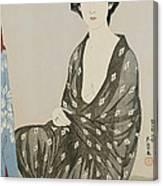 A Beauty In A Black Kimono Canvas Print
