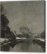 A Belgian Town In Winter Canvas Print