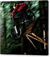 A Biker Rides His Mountain Bike Canvas Print