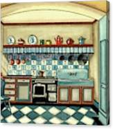 A Blue Kitchen With A Tiled Floor Canvas Print