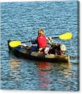A Boy And His Canoe Canvas Print