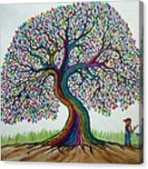 A Boy His Dog And Rainbow Tree Dreams Canvas Print