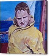 A Boy On A Boat Canvas Print