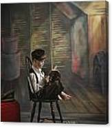 A Boy Posed Reading Old Books Victoria Canvas Print