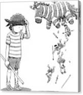 A Boy Watches As The Pinata He Just Hit Drops Canvas Print
