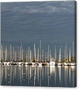 A Break In The Clouds - White Yachts Gray Sky Canvas Print