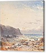 A Breezy Day With Fisherfolk On The Foreshore Canvas Print
