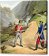 A British Soldier Taking Two French Canvas Print