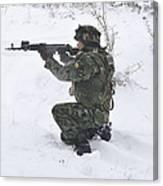 A Bulgarian Soldier Aims Down The Sight Canvas Print