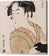 A Bust Portrait Of The Waitress Okita Of The Naniwaya Teahouse Canvas Print