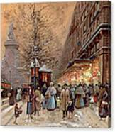 A Busy Boulevard Near The Place De La Republique Paris Canvas Print