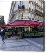 A Cafe On The Champs Elysees In Paris France Canvas Print
