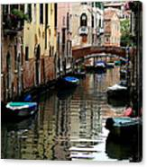 Calm Canal In Venice  Canvas Print