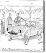 A Car Salesman Shows A Couple A Car Monster Canvas Print