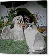 A Cat And A Dog Canvas Print