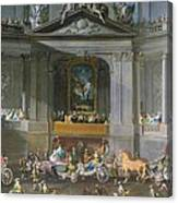 A Cavalcade In The Winter Riding School Of The Vienna Hof To Celebrate The Defeat Of The French Canvas Print