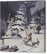 A Cherub Wields An Axe As They Chop Down A Christmas Tree Canvas Print