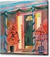 A Christmas At Home, House Prints, Porch Prints, House Paintings, House Prints, Christmas Paintings, Canvas Print
