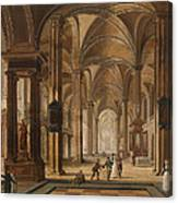A Church Interior With Elegant People Canvas Print