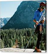 A Climber At The Top Of Pitch 3 On Swan Canvas Print