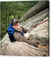 A Climber Reaches His Hand In A Crack Canvas Print
