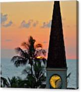 A Clock Tower At Sunset On Maui, Hawaii Canvas Print