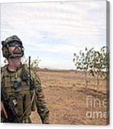 A Coalition Force Member Looks For Air Canvas Print