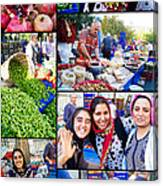 A Collage Of The Fresh Market In Kusadasi Turkey Canvas Print
