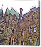 A Corner Of Parliament Building In Ottawa-on Canvas Print