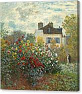 A Corner Of The Garden With Dahlias Canvas Print