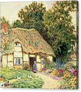 A Cottage By A Duck Pond Canvas Print