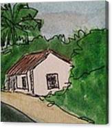 A Cottage Next To The Pathway Canvas Print