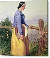 A Country Girl Standing By A Fence Canvas Print