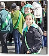 A Couple Girls Enjoying Themselves In The 2009 New York St. Patrick Day Parade Canvas Print