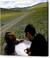 A Couple Hiking Across The Atlai Canvas Print