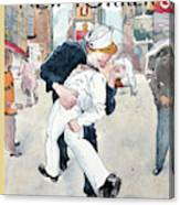 A Couple Reenacts A Famous World War II Kiss Canvas Print