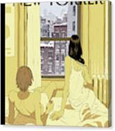 A Couple Stays In Bed While It Snows In The City Canvas Print