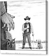 A Cowboy With A Dog Speaks To His Opponent Canvas Print