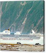 A Cruise Ship Passes By A Wolf Roaming Canvas Print