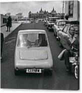 A Demonstration Of Electric Vehicle In London Canvas Print