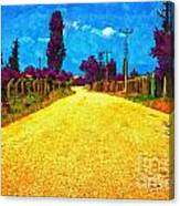 A Digitally Converted Painting Of An Empty Country Lane Canvas Print
