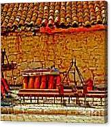 A Digitally Converted Painting Of Farm Machinery In A Turkish Village Canvas Print