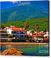A Digitally Converted Painting  Of Luxury Beachside Villas Canvas Print