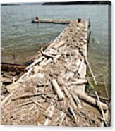 A Dock Covered With Driftwood Canvas Print
