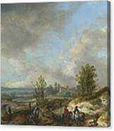 A Dune Landscape With A River And Many Figures Canvas Print