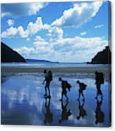 A Family Of Hikers Walks Canvas Print