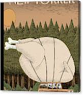 A Family Rides Home With A Giant Turkey Tied Canvas Print