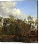 A Farm Among Trees Canvas Print