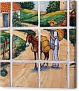 A Farm Scene On Plaza Tiles Canvas Print