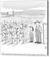 A Farmer And His Daughter Look At Cornstalks Who Canvas Print